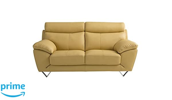American Eagle Furniture Valencia Collection Italian Leather Living Room Loveseat with Pillow Top Armrests, Yellow