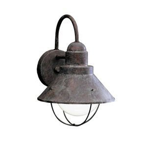 - KICHLER 9022OB Seaside 1LT 12IN Exterior Wall Mount, Olde Brick Finish by
