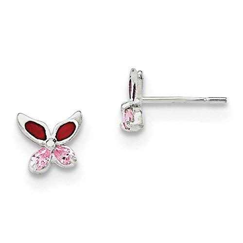 925 Sterling Silver Pink CZ & Enameled Butterfly Post Earrings