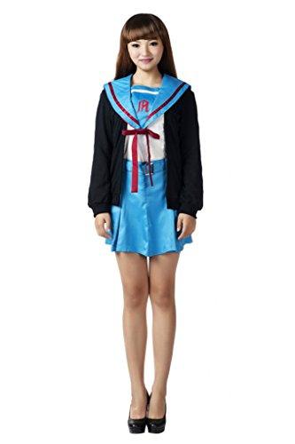 Mtxc Women's The Melancholy of Suzumiya Haruhi Cosplay Nagato Yuki Uniform Size XX-Large (Yuki Nagato Cosplay Costume)