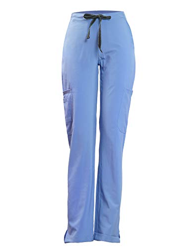 Joy SenScrubs Women's Xtreme Stretch Pants (7 Pockets Elastic Waist Fit Drawstring) Style Kelly (Ciel Blue, XS) -