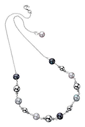 Jewelry Necklace Pearl Element (Elements Silver Womens Freshwater Pearl Bead Necklace - Silver/Black)