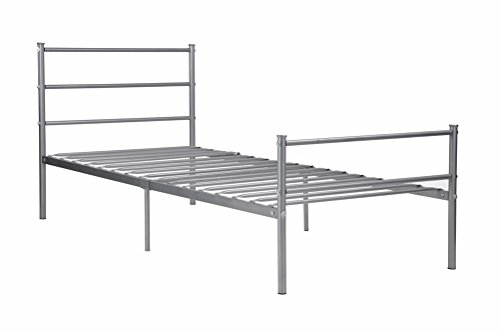 GreenForest Metal Bed Frame Twin Size, Two Headboards 6 Legs Mattress Foundation Silver Platform Bed Frame Box Spring Replacement for Boys Kids Adult Bedroom, Silver ()