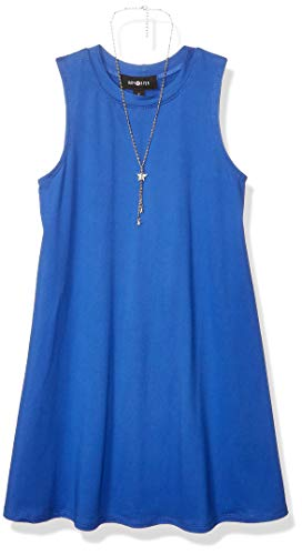 Amy Byer Girls' Big Everyday a-Line Dress with Necklace, Cobalt Blue, M