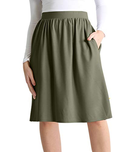 Womens Knee Length Flare A-Line Skirt with Side Pockets - Made in USA (Size Medium US 4-6, Olive)