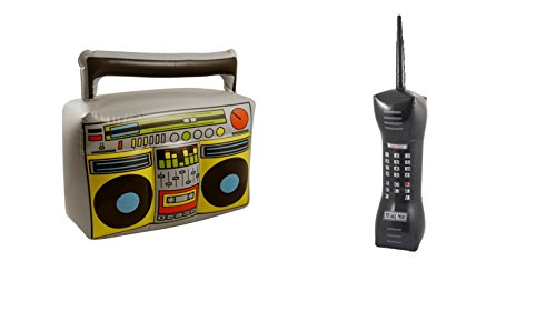 Inflatable Blow Up Mobile Phone & Boom Box Party Decoration Fancy Dress Accessory