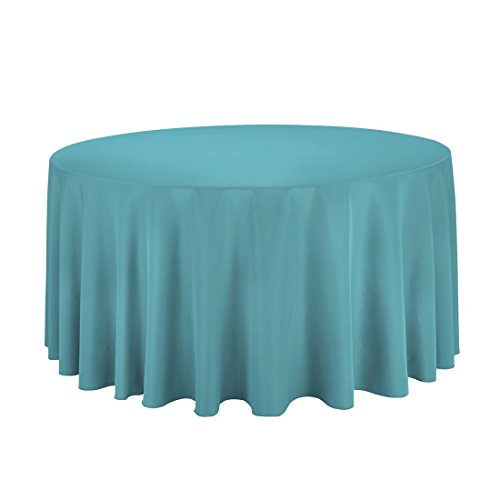 LinenTablecloth 120-Inch Round Polyester Tablecloth Turquois