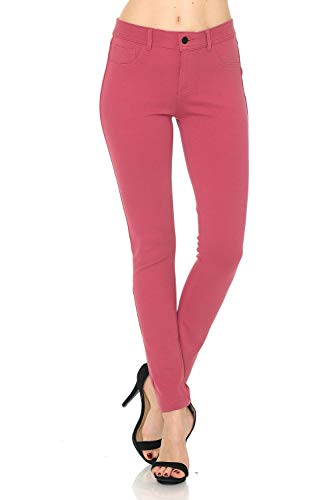 (Auliné Collection Womens Solid Slim Fit Color Skinny Stretchy Ponte Pants Rose Pink L)