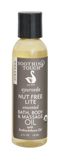 Soothing Touch Nut Free Lite Organic Bath Body & Massage Oil, Unscented, 4 Ounce ()
