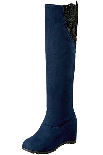 BIGTREE Knee High Boots Women Wedge Autumn Winter Lace Casual Faux Suede Warm Comfortable Long Boots Blue