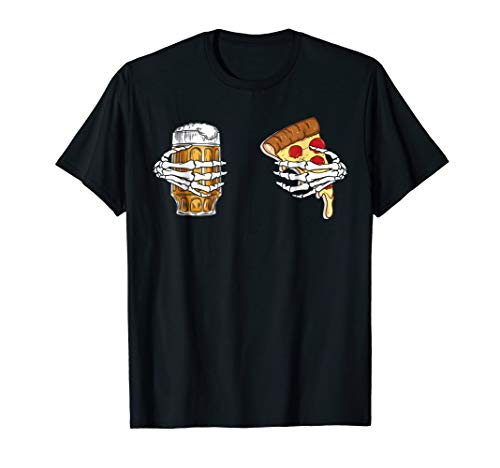 Beer And Pizza Hand Skeleton T-Shirt Halloween Costume