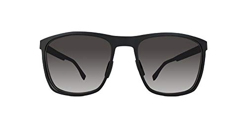 BOSS by Hugo Boss Men's B0732S Rectangular Sunglasses, Matte Black Carbon/Gray, 57 mm