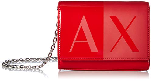 (A|X Armani Exchange Two Tone Wallet with Chain, red)