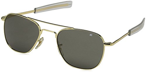 Metal Logo Aviator Sunglasses - AO Eyewear American Optical - Original Pilot Aviator Sunglasses with Bayonet Temple and Gold Frame, True Color Grey Glass Lens