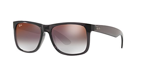 Ray-Ban Men's Nylon Man Non-Polarized Iridium Rectangular Sunglasses, Trasparent Grey, 50 - Sunglasses For Coolest Men