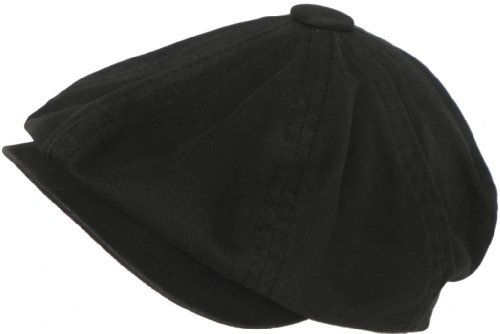 Broner 8/4 Apple Jack Cap Cotton Newsboy Hat (Black, Large)