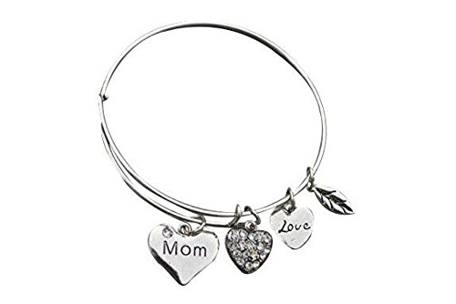 Infinity Collection Mom Charm Bangle Bracelet for Women, Love Mom Jewelry]()