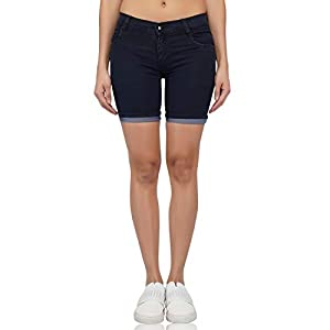 LUXSIS Nevi Blue Denim Lycra Skinny Casual Mid Waist Solid Latest Stretchable Nikker Shorts Jeans Pants for Women Ladies Girls Pack of One Size 34 (Four Colour)