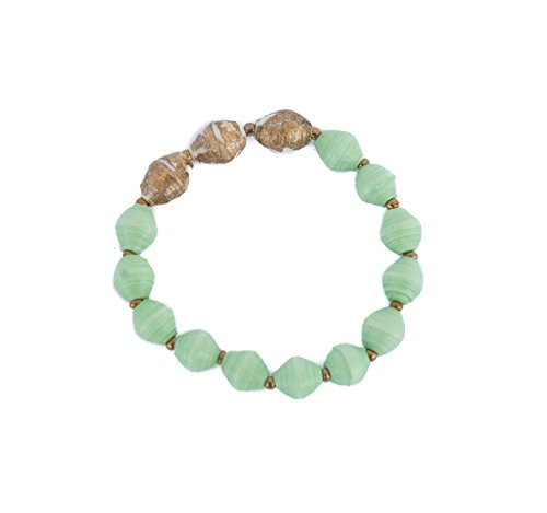 Mint Green and Gold Recycled Paper Bead Bracelet Handmade with Love in Uganda, Africa