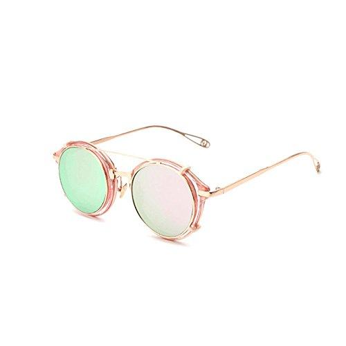 de Gold Couleur Lunettes Steampunk Européennes Et Américaines Soleil Soleil Lunettes Silver De White Rondes Pink TLMY z6dtwTqPw