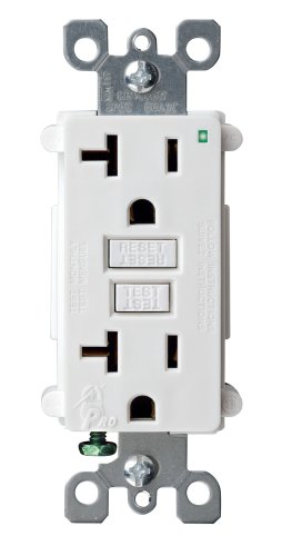 Leviton 7899-W 20 Amp 125 Volt, SmartlockPro GFCI, with Indicator Light, Nylon Wallplate and Screws Included, White