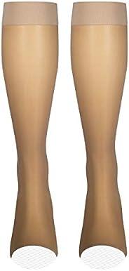 NuVein Sheer Compression Stockings Fashion Silky Sheen Denier Open Toe Knee High, Beige, Medium