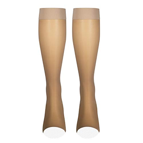 NuVein Sheer Compression Stockings Fashion Silky Sheen Denier Knee High, Beige (Open Toe), Large
