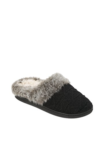 Dearfoams Textured Knit Clog w/ Pile Cuff with FREE GIFT Black kCUraKaRY