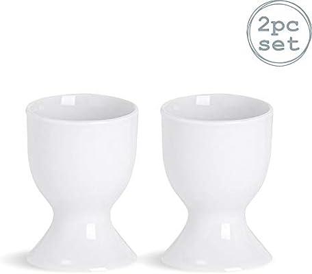 Pack of 2 White Argon Tableware Egg Cup Set Porcelain Cups for Hard Soft Boiled Eggs