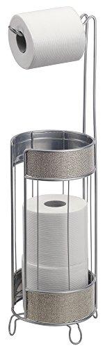 mDesign Free Standing Toilet Paper Holder for Bathroom - Metallic