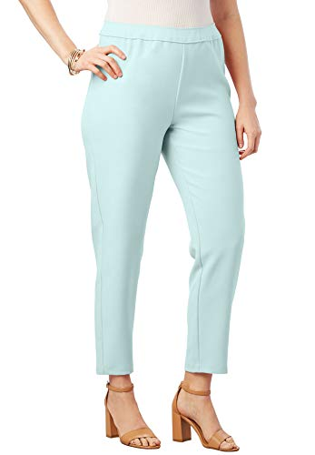 Roamans Women's Plus Size Bend Over Ankle Pant - Pastel Turquoise, 12 W