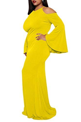 Yellow Long Women Maxi Size Chellysun Dress Dress Cold Plus Sleeve Casual Trumpet Shoulder TwR17q