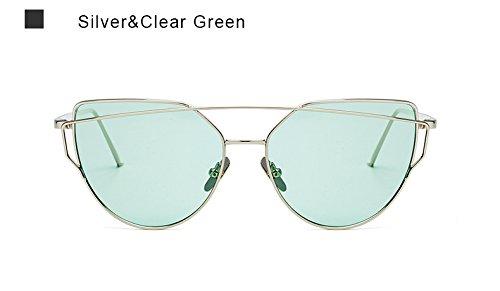 Moda metal de mujer plata oro de gafas ZHANGYUSEN damas Espejo UV400 Aviación Vintage mujer de de Gafas sol rosa Cleargreen sol para piloto bastidor Ojo Gato 54q4pWAz