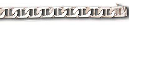 (14K Solid White Gold Handmade Anchor Mariner Link Bracelet 7 Mm (9 Inches))