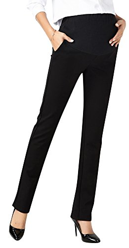 Foucome Womens Maternity Bootcut Stretch Career Dress Pants Work Office Over-Bump Trousers (Elastic Work Pant)