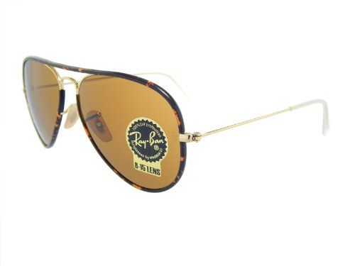 Ray Ban Aviator RB3025JM 001 Gold/Tortoise/Crystal Brown 58mm - Ban Tortoise Aviators Ray