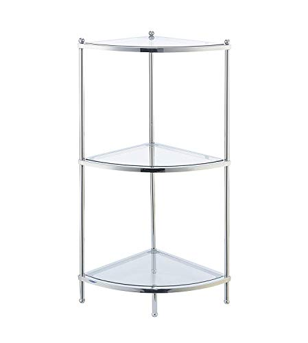 Convenience Concepts Royal Crest Corner Shelf, Clear Glass Chrome Frame