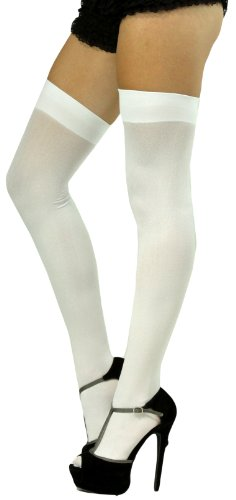 ToBeInStyle Women's Long Schoolgirl Stockings - One Size - White (School High Socks)