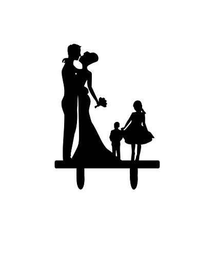 - Bride And Groom Silhouette Wedding Cake Topper With Children Son Daughter Bride & Groom Dancing Cake Topper Child Boy Girl Family Children