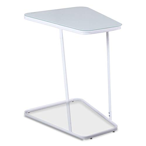 Modern C Shape Glass Steel Accent End Table This end Table is Very Exquisite, Blended Modern Industrial and Fashion Style and Featured Solid Carbon Steel Pipe Construction.