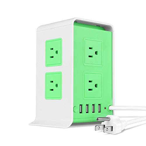 - TNP Power Strip Tower Surge Protector with 4 USB Ports 8 AC Outlet, Charging Station Power Supply Multi Socket Plug with 6ft Extension Cord For PC Laptop Smartphone & Appliance (Green)