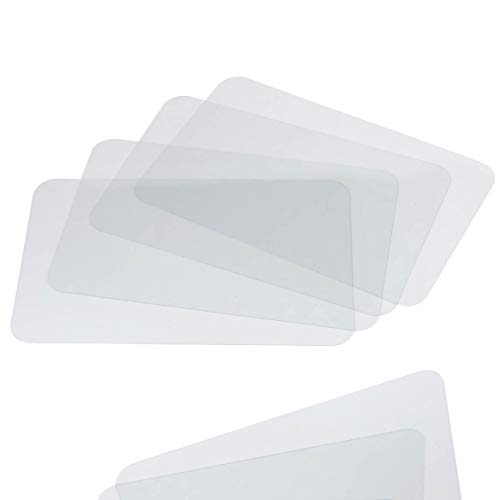 Clear Placemat Set of 4 - Washable Dining or Kitchen Table Mat - Plastic - Heat Resistant