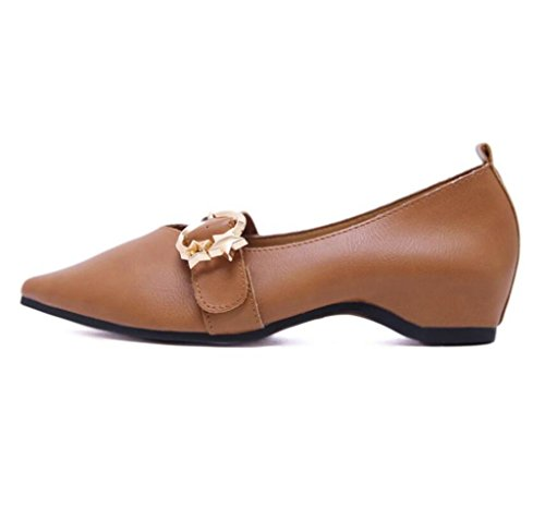Brown Punta Zapatos Solos Puntiaguda Artificial Ladies Womens Baja Pu Linyi Nuevos Boca nqw4SPBnU