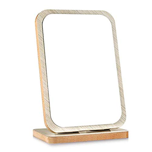 Make up Mirror Compact Travel Mirror Folding Portable Mirror Vintage Wood Frame Rustic Finish for Vanity Set Dresser Bedroom Bathroom Office Decorative Countertop Stand Mirror Adjustable -