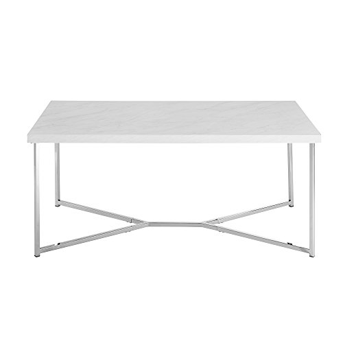 WE Furniture AZF42LUXWMC Coffee Table, Faux White Marble/Chrome (Coffee Chrome Table)