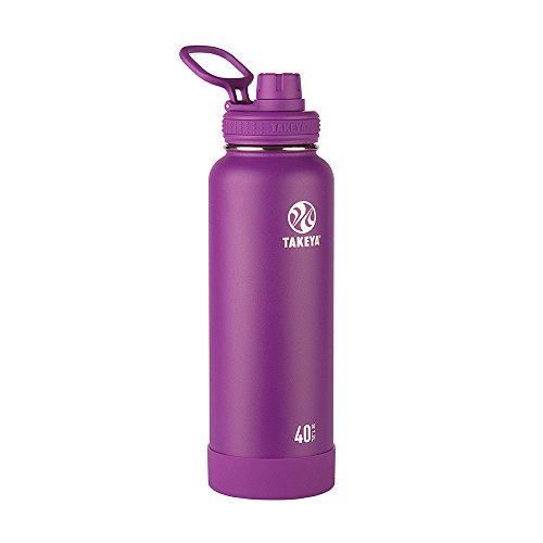 Takeya Actives Vacuum-Insulated Stainless-Steel Water Bottle with Insulated Spout Lid, 40oz, Violet (Purple Flask Hydro)