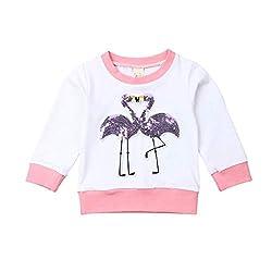 Girls Sequins Flamingo Long Sleeve Blouse