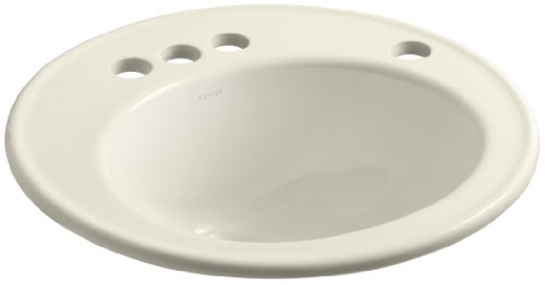 "UPC 040688805504, KOHLER K-2202-4R-47 Brookline Self-Rimming Bathroom Sink with 4"" Centers and Right-Hand Soap/Lotion Dispenser Hole Drilling, Almond"