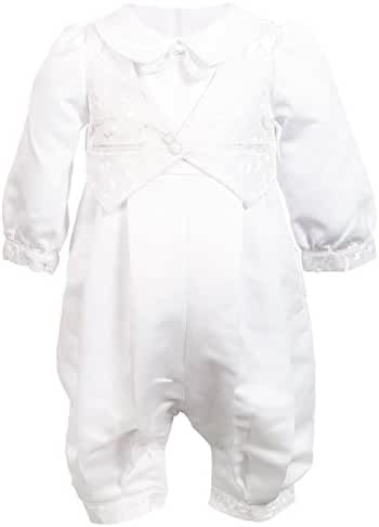 Nimble Baby Boys Newborn Christening Baptism Infant Satin Romper Outfit,0-12M