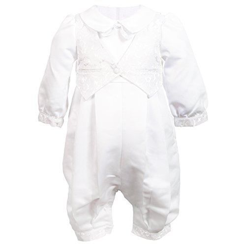 NIMBLE Baby Boys Newborn Christening Baptism Infant Satin Romper Outfit,0-12M White